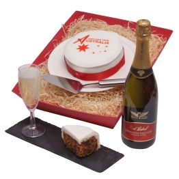 Australian Bubbly and Greeting Cake