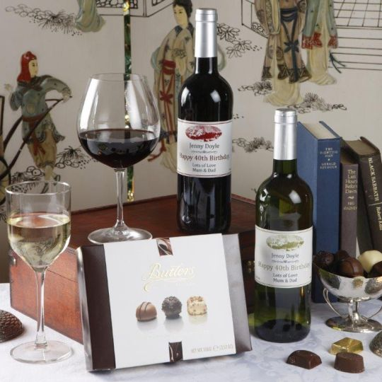 Personalised Wine Duo & Chocs Hamper