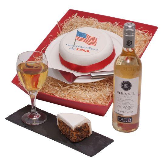 US Cake And Wine Hamper