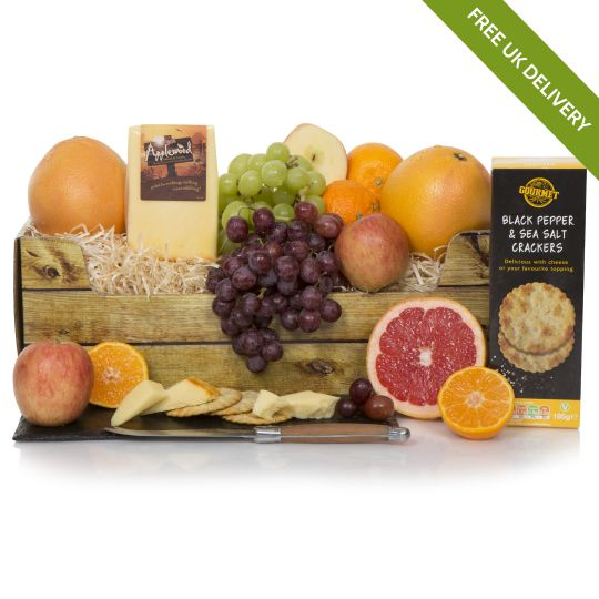 Fruit Basket With Cheese And Crackers Hamper