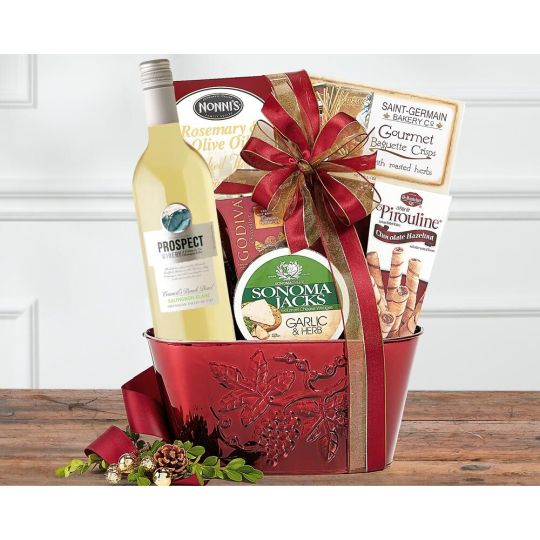 White Wine Christmas Basket Hamper