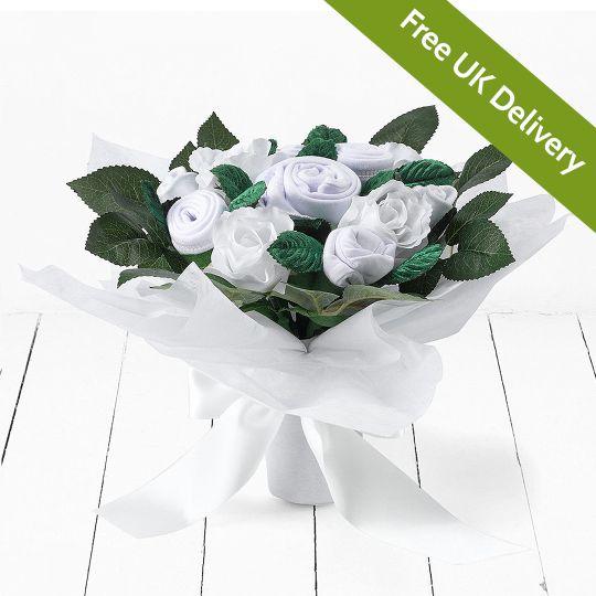 White Hand Tied Bouquet Hamper