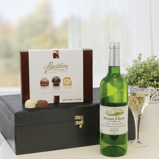 Personalised White Wine & Chocs Hamper