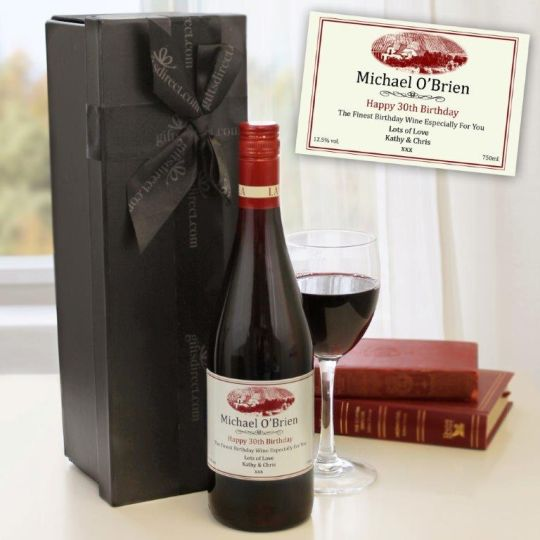 Personalised Red Wine in a Box Hamper