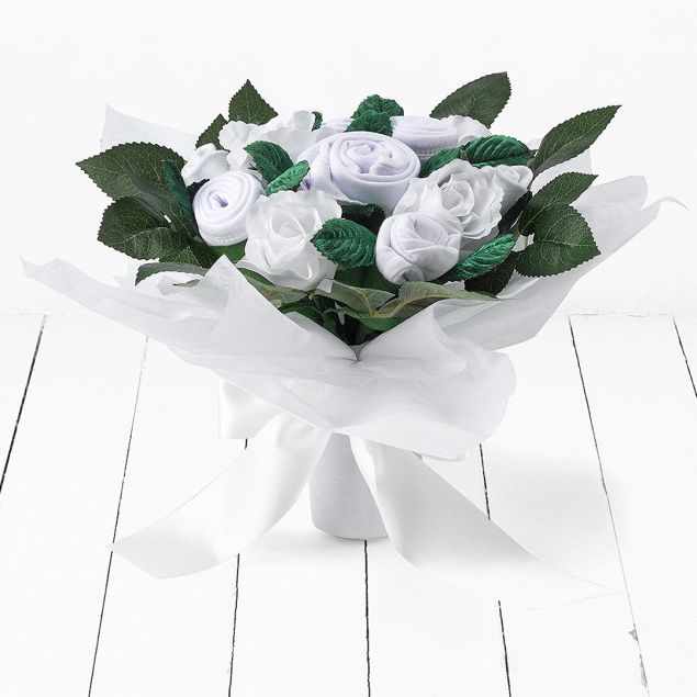 White Hand Tied Bouquet Hamper