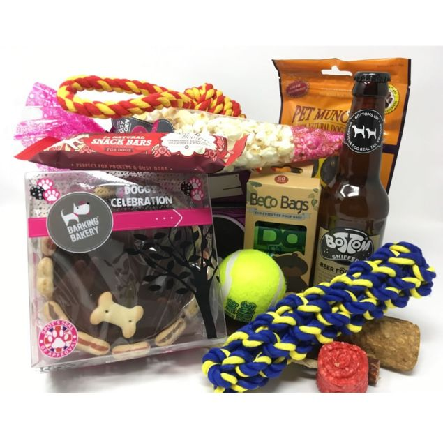 Happy Birthday Dog Hamper with Dog Beer Hamper