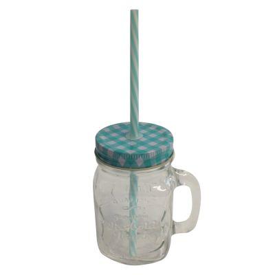 Mason Drinking Jar with a Straw