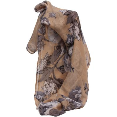 Ladies Brown Floral Printed Scarf