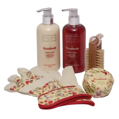 Containing Woodlands Bergamot Hand Lotion 300ml, Hand Wash 300ml, Body Soap 140g, Wooden Nail Brush and Gardening Gloves