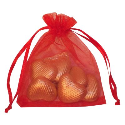 Organza Bag of Chocolate Hearts 40g