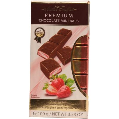 Maitre Truffout Milk Chocolate Bars with Strawberry Filling 100g