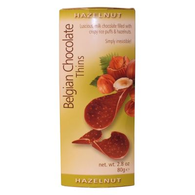Belgian Chocolate Hazelnut Thins 80g