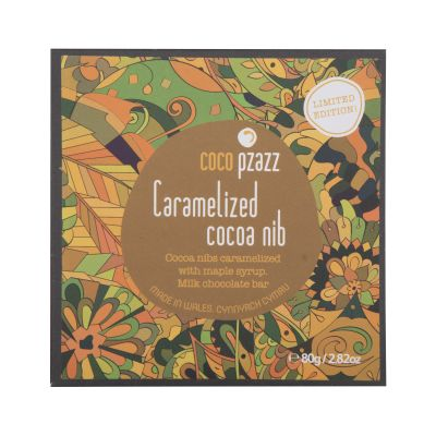 80g Coco Pzazz Caramelised Cocoa Nib Chocolate Bar