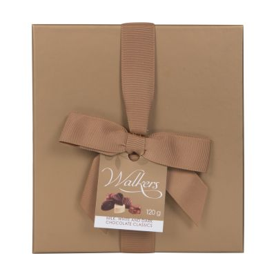 120g Walkers Milk White and Dark Chocolates in Gold Box